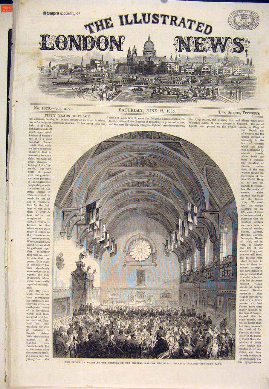 Print Royal Dramatic College Hall Prince Wales 1865 66Maa0 Old Original