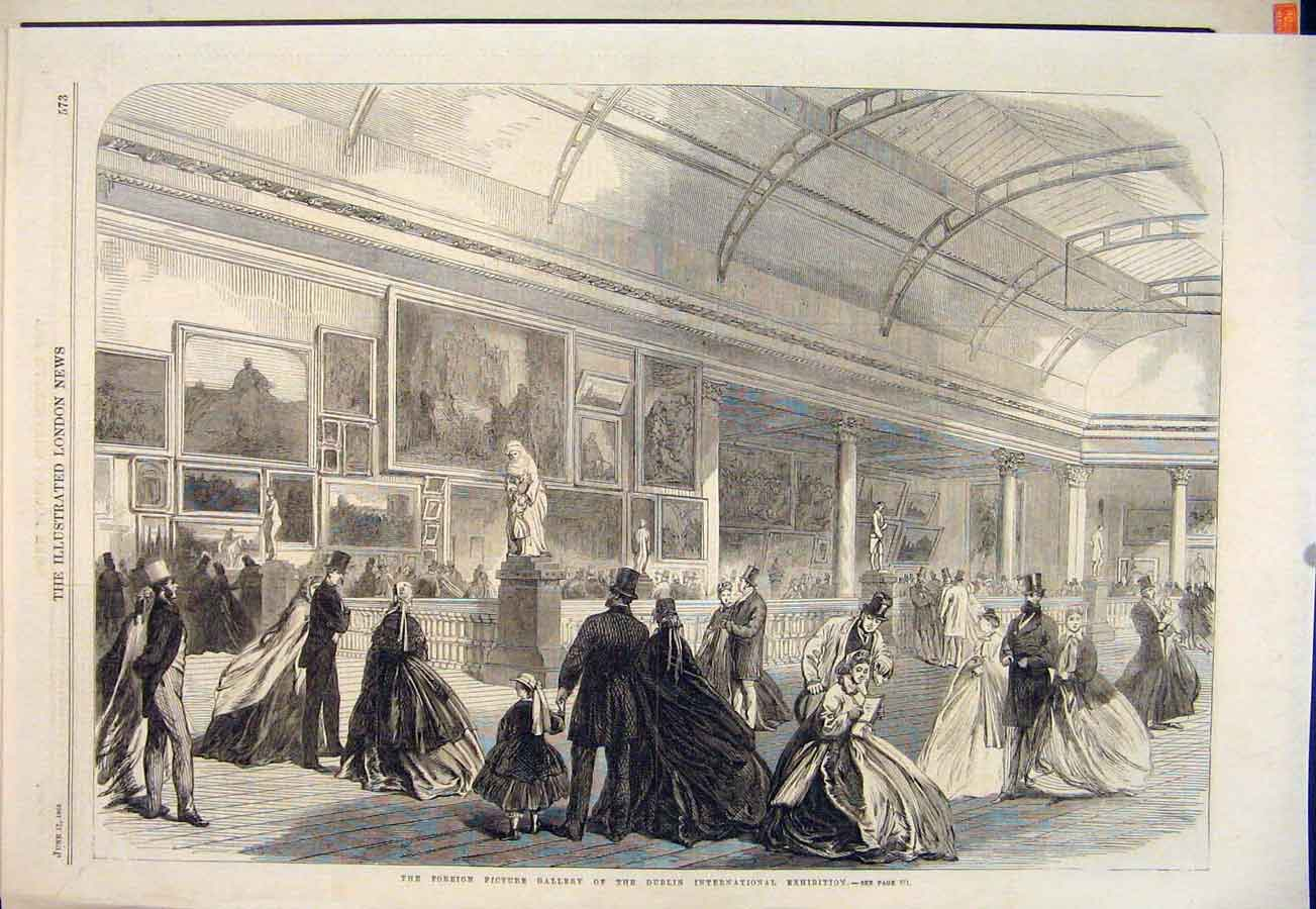 Print Dublin International Exhibition Foreign Picture Ireland 73Maa0 Old Original