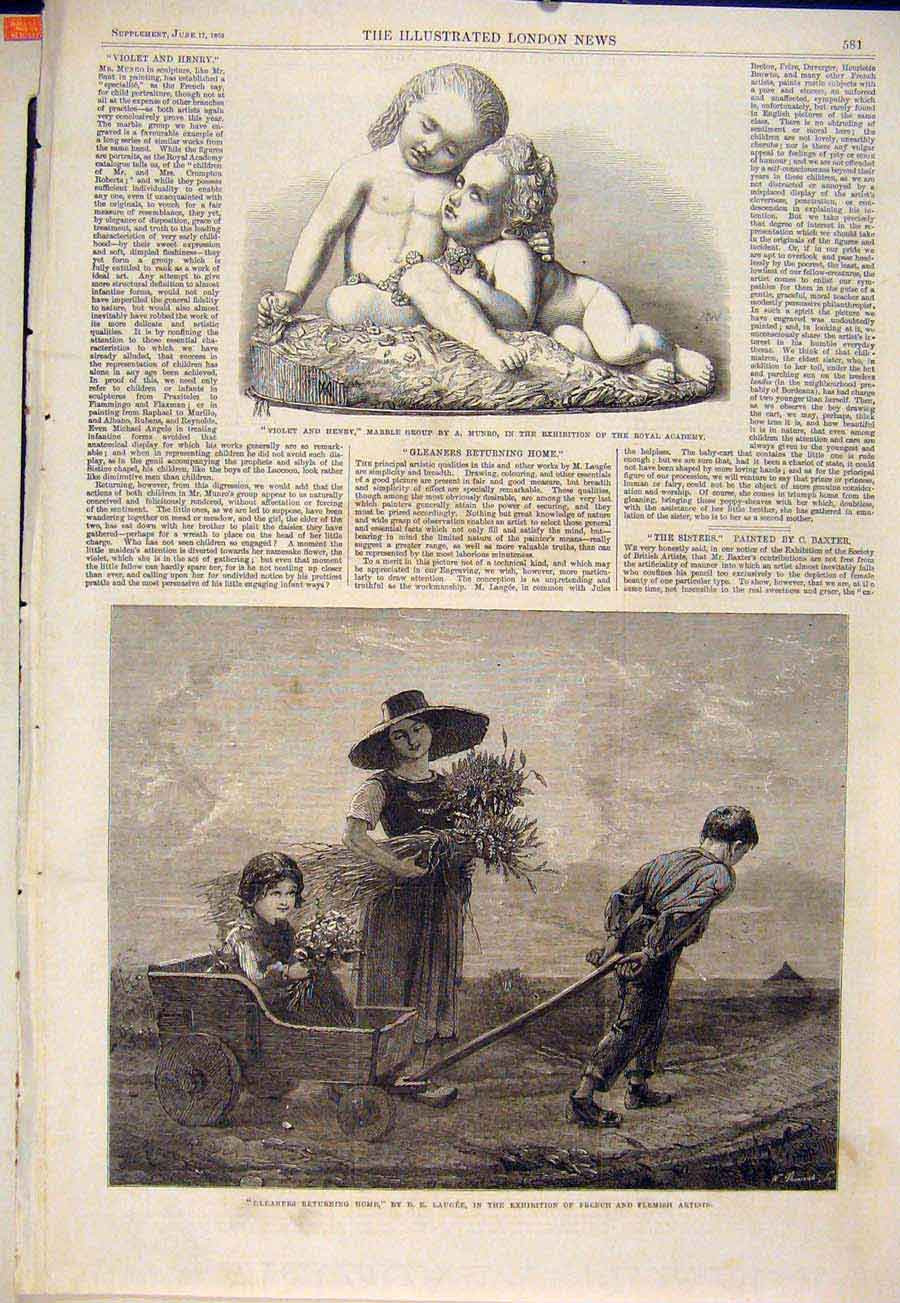 Print Marble Group Statue Munro Gleaners Laugee Fine Art 1865 81Maa0 Old Original