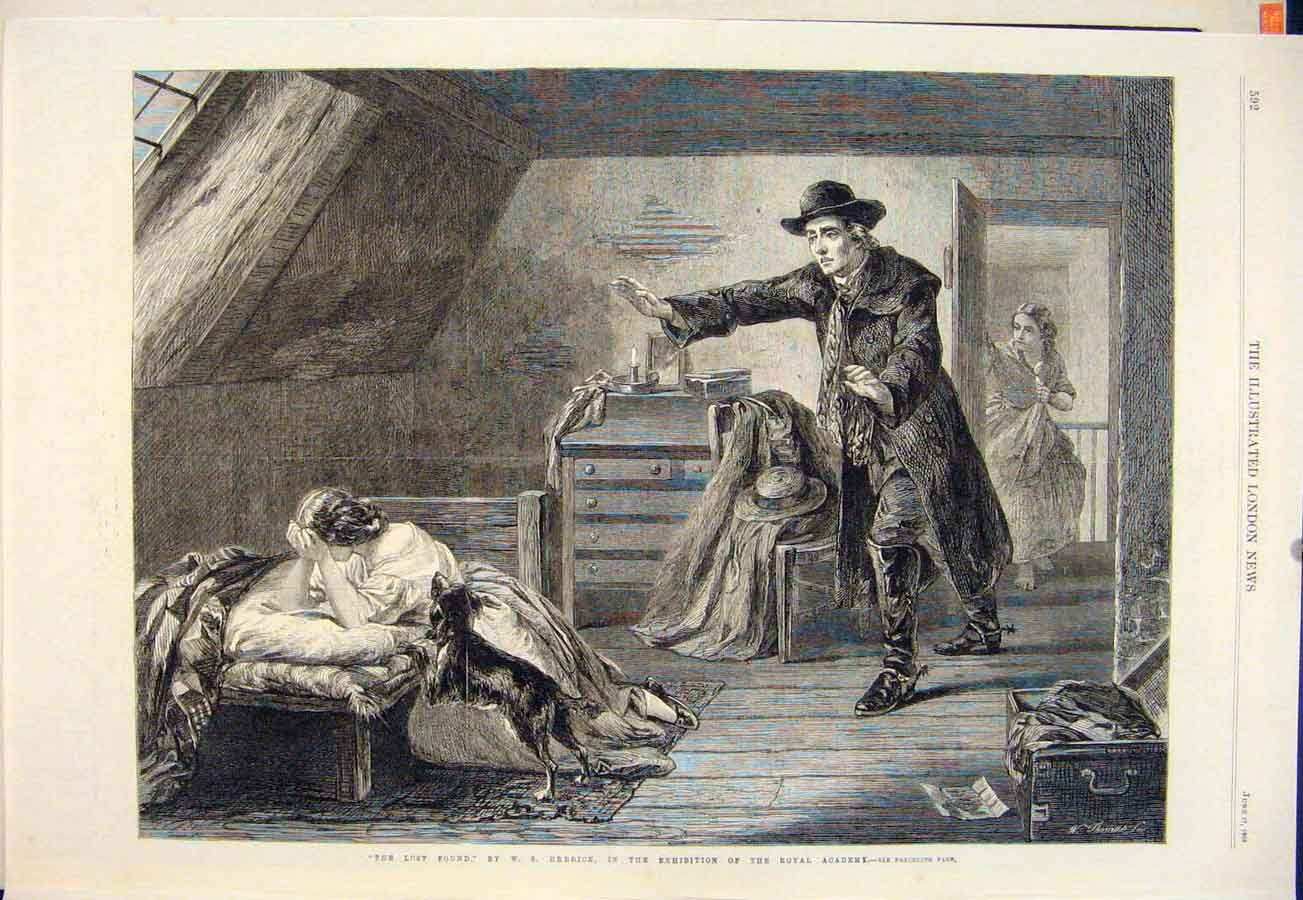 Print Lost Found Herrick Lady Dog Man Attic Fine Art 1865 92Maa0 Old Original