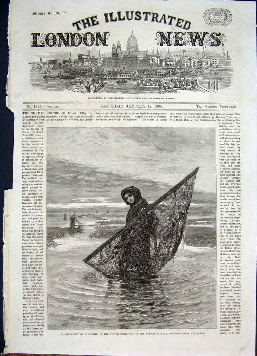 Print Shrimper Smythe Pall Mall French Gallery Fine Art 1868 50Maa0 Old Original