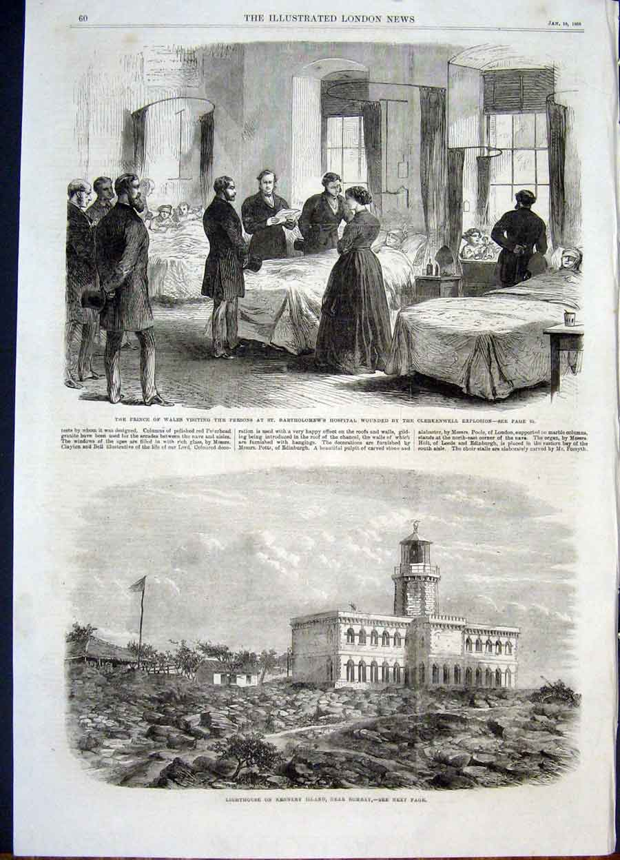 Print Hospital St Batholomew'S Clerkenwell Lighthouse Kennery 60Maa0 Old Original