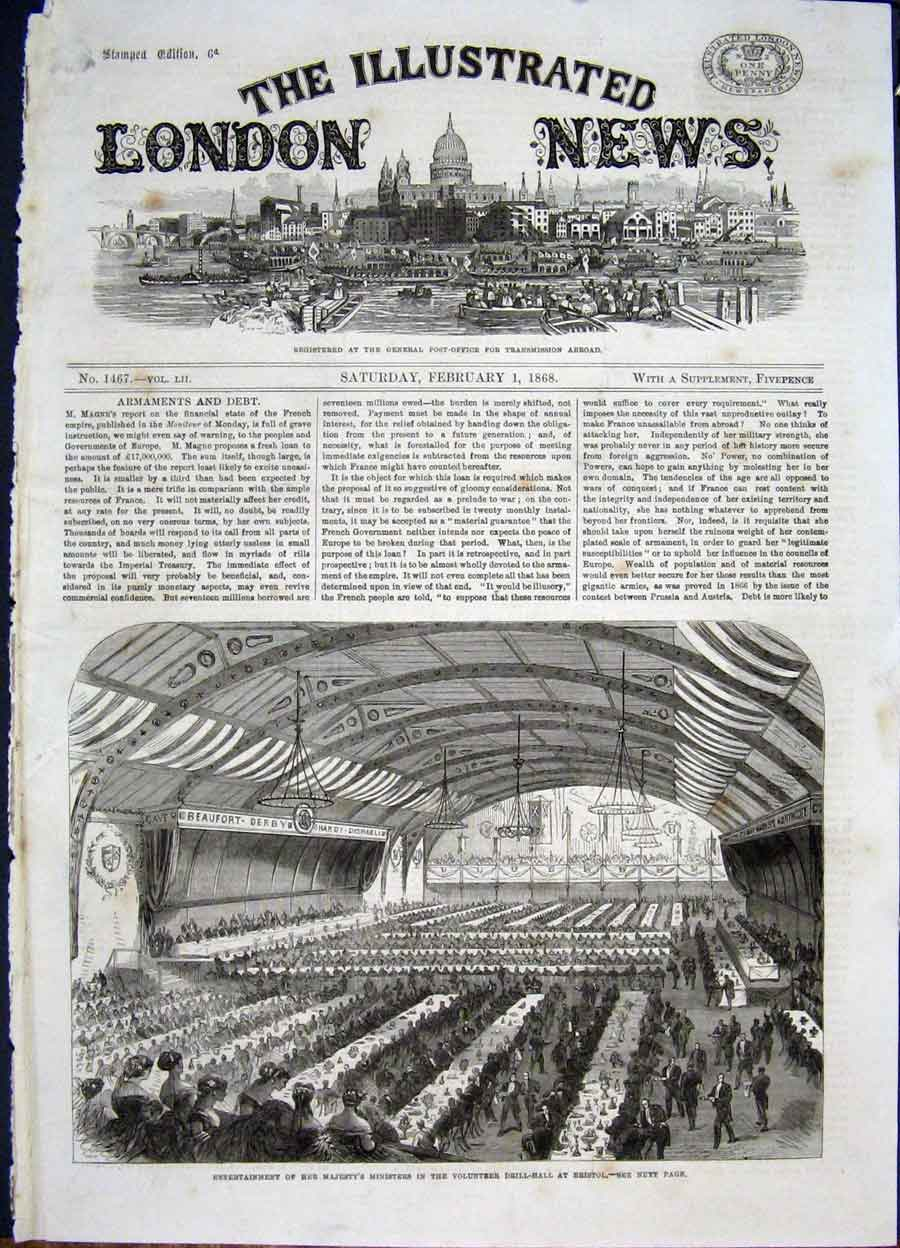 Print Bristol Drill Hall Ministers Entertainment 1868 02Maa0 Old Original