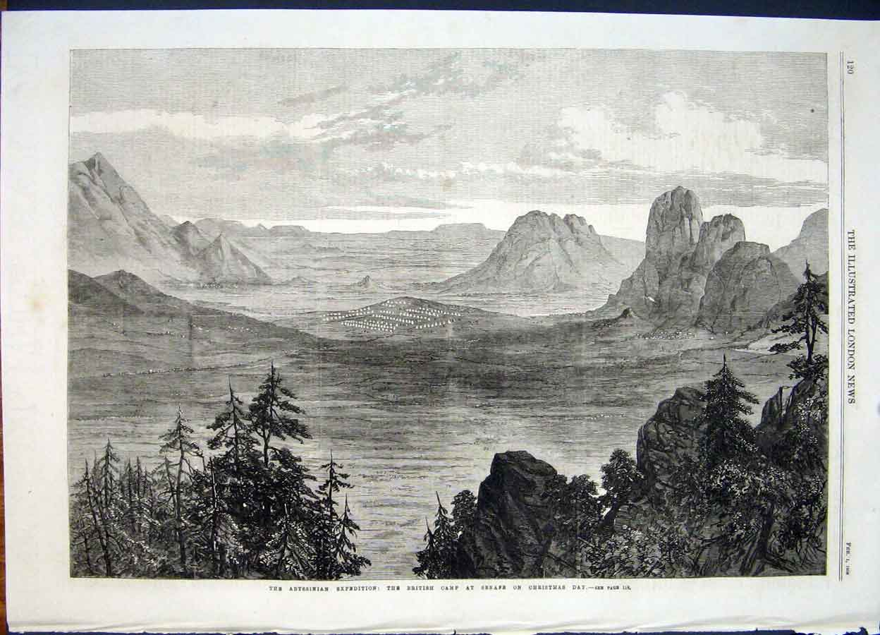 Print Abysinnia Expedition Senafe British Camp Christmas 1868 20Maa0 Old Original