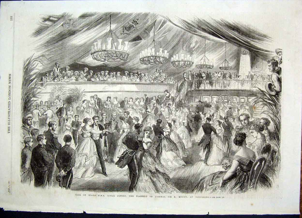 Print Ball Hms Royal Alfred Flagship Mundy Barbados 1868 33Maa0 Old Original