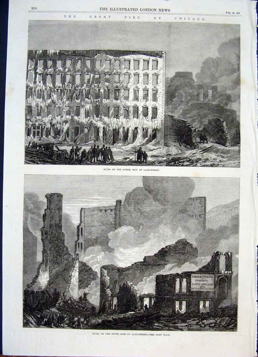 Print Fire Chicago America Lake Street Ruins 1868 00Maa0 Old Original