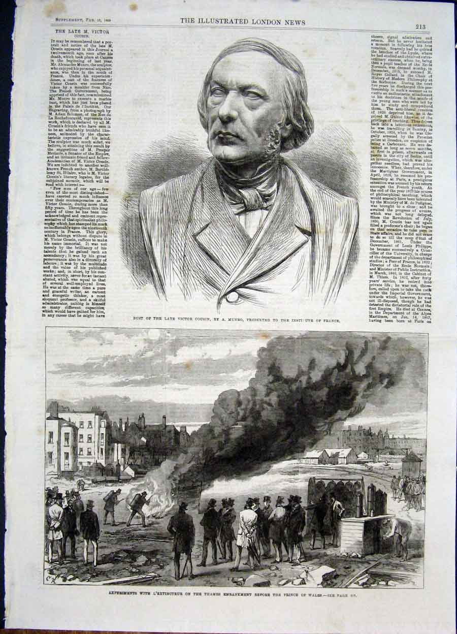 Print Bust Cousin Munro France Thames Extinguisher 1868 13Maa0 Old Original
