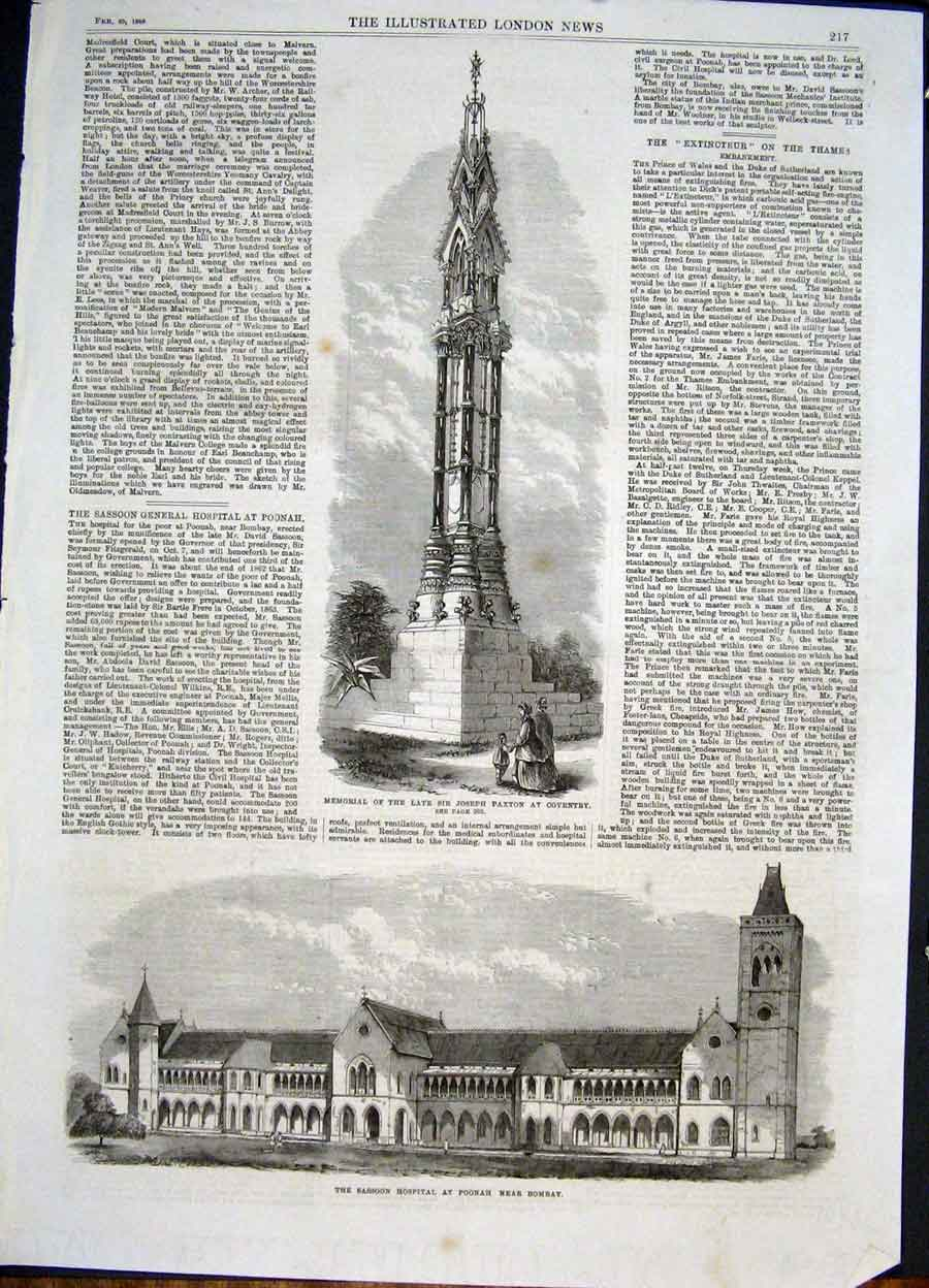 Print Paxton Memorial Coventry Sassoon Hospital Bombay India 17Maa0 Old Original