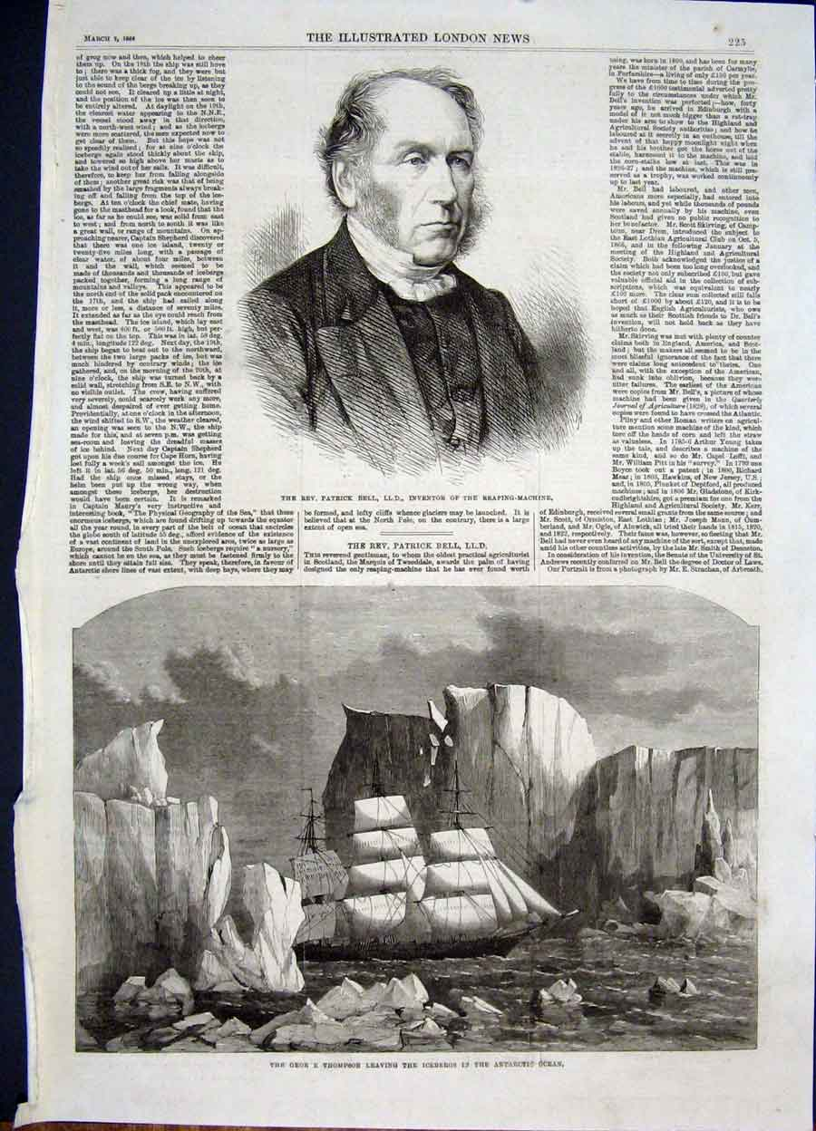 Print Portrait Bell Inventor George Thompson Ship Antartic 25Maa0 Old Original