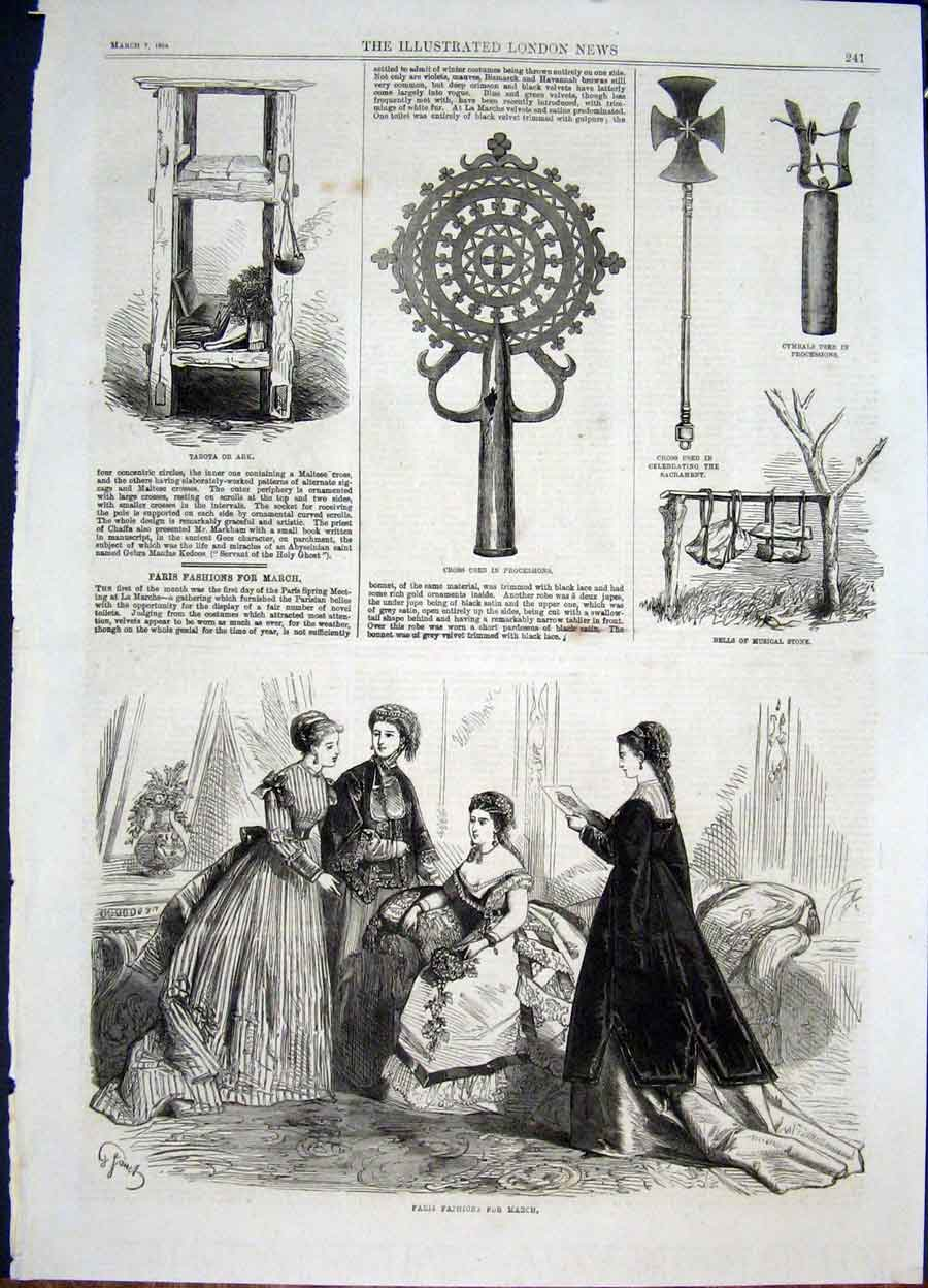 Print Paris Fashion March Tabota Ark Stone Musical 1868 41Maa0 Old Original