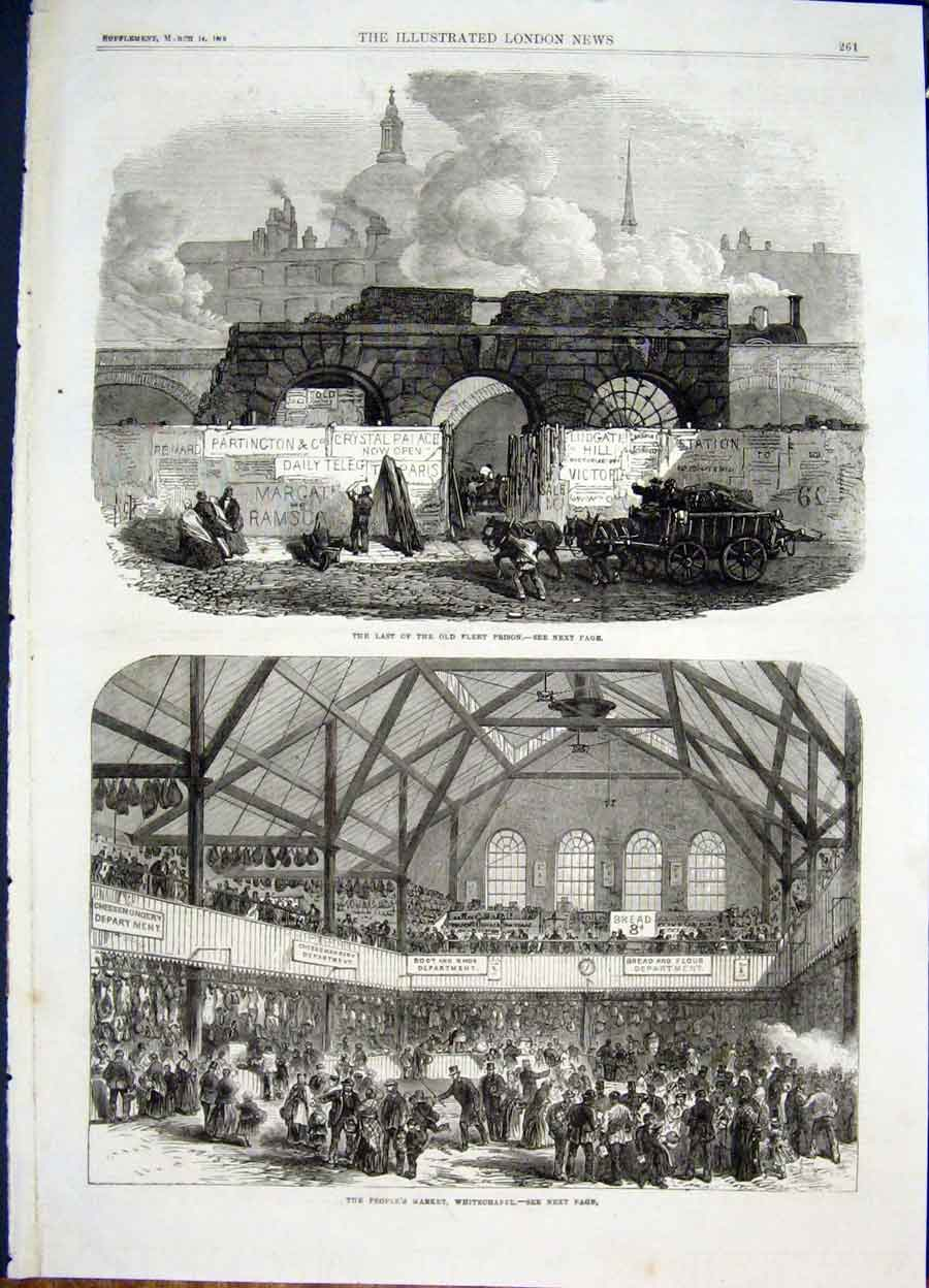 Print Flert Prison Market Whitechapel London 1868 61Maa0 Old Original
