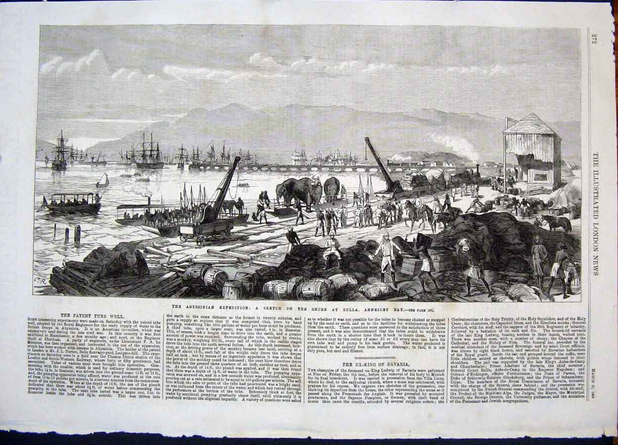 Print Abysinnia Expedition Zulla Annesley Bay Elephants Ships 72Maa0 Old Original