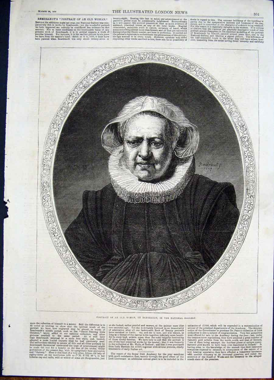 Print Portrait Woman Rembrandt Gallery Fine Art 1868 01Maa0 Old Original