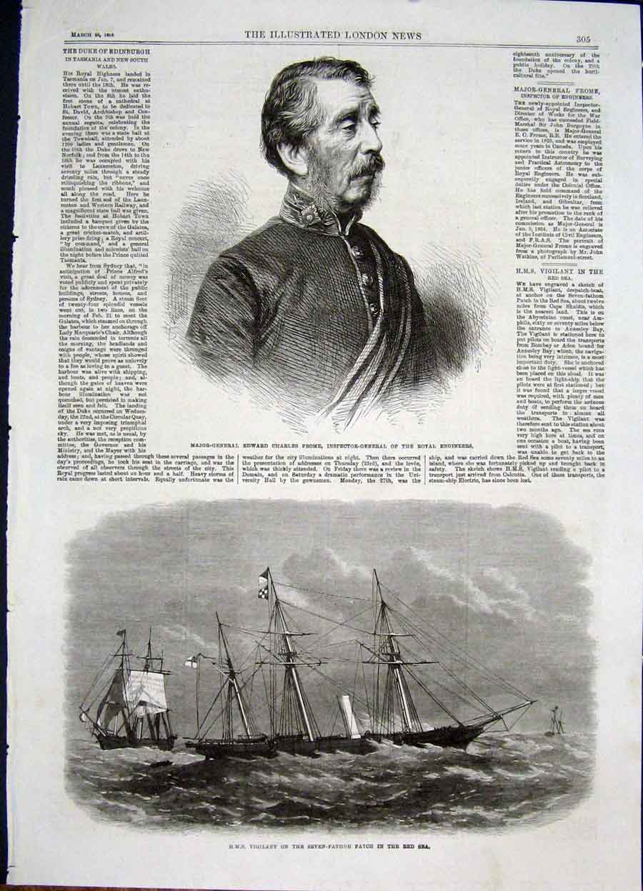 Print Portrait Frome Royal Engineers Hms Vigilant Red Sea 05Maa0 Old Original