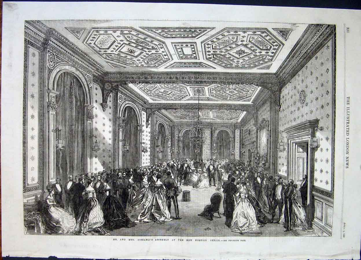 Print Disraeli Assembly Foreign Office London 1868 36Maa0 Old Original