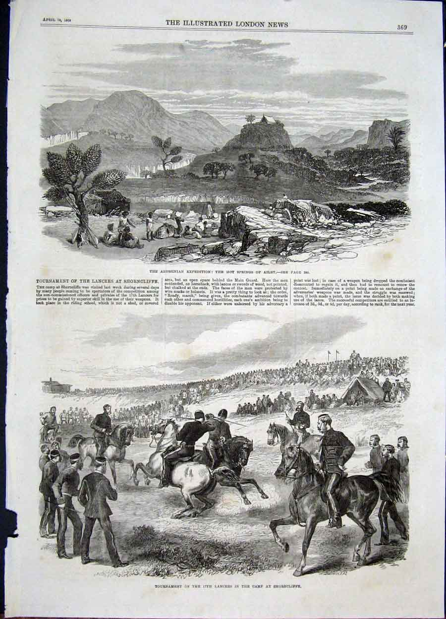 Print Abyssinian Expedition Shorncliffe Lancers 1868 69Maa0 Old Original