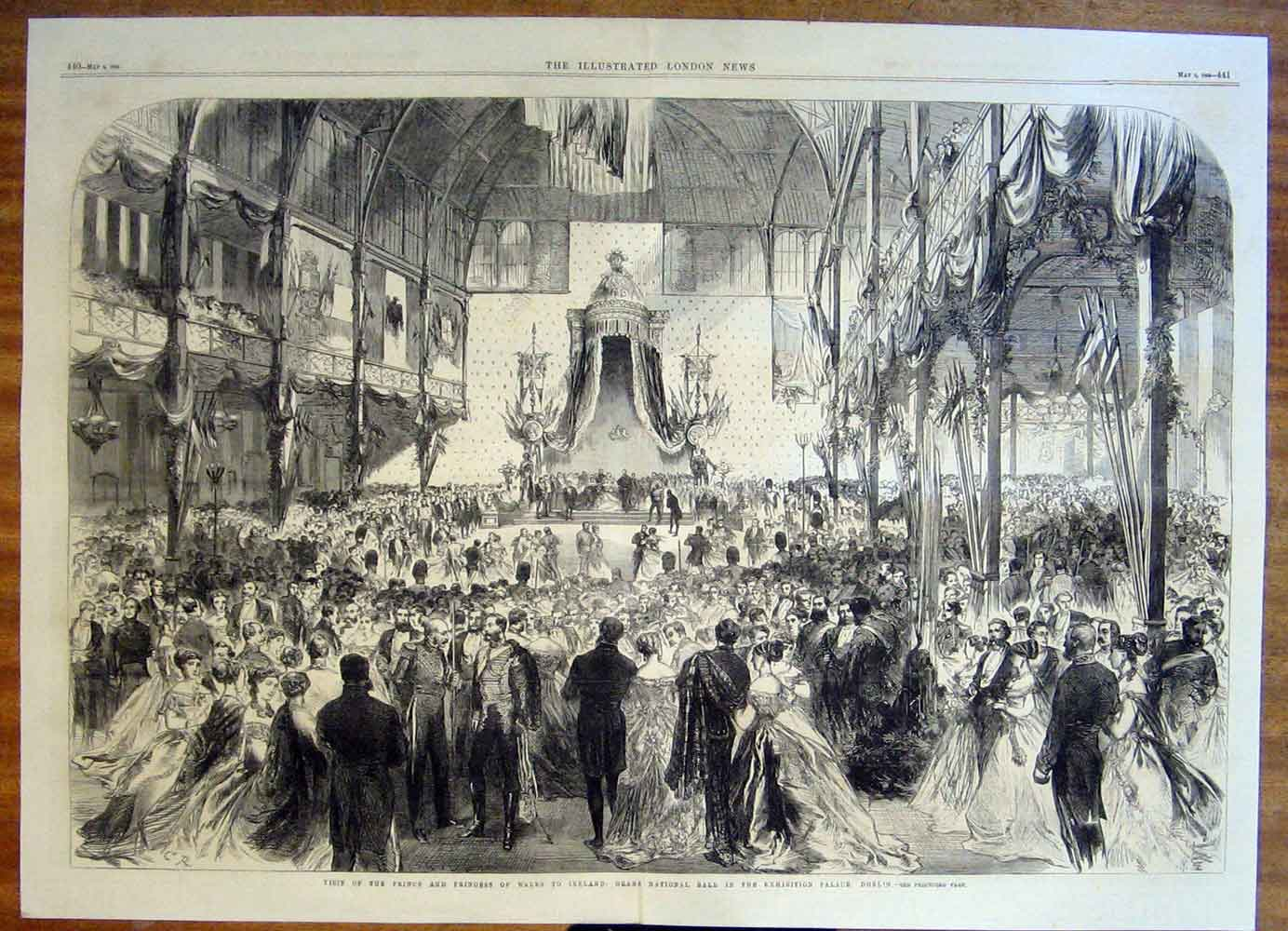 Print Ireland Prince Wales Dublin National Ball Palace 1868 39Tmaa0 Old Original