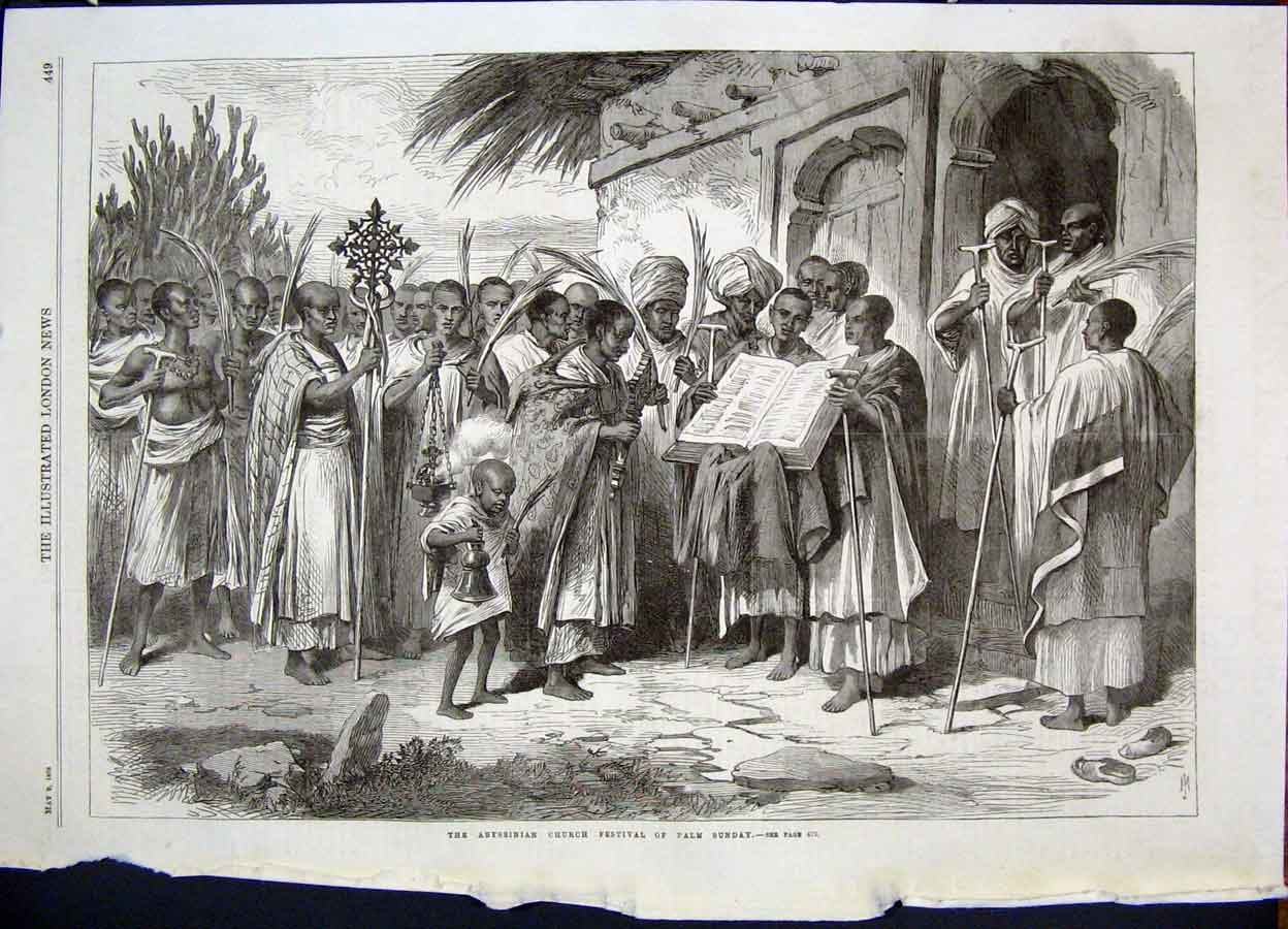 Print Abysinnia Church Festival Palm Sunday Africa 1868 49Maa0 Old Original