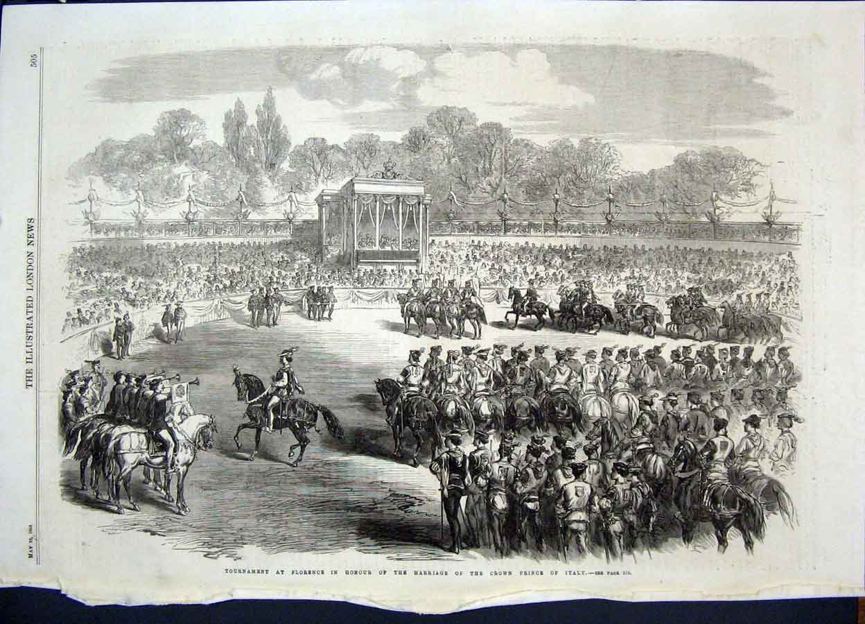 Print Florence Prince Italy Marriage Tournament 1868 05Maa0 Old Original