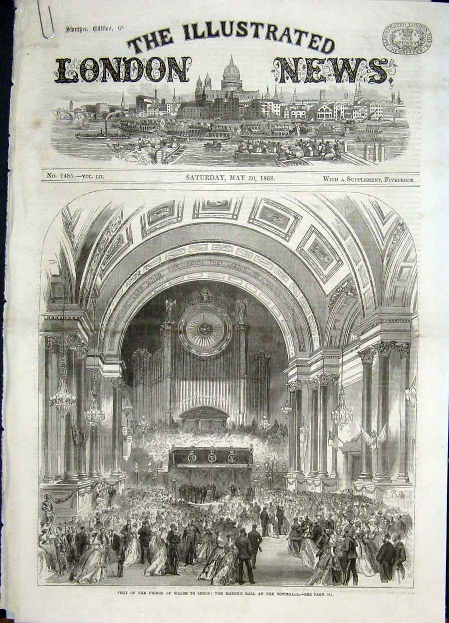 Print Leeds Mayor'S Ball Townhall Prince Wales George Street 41Amaa0 Old Original