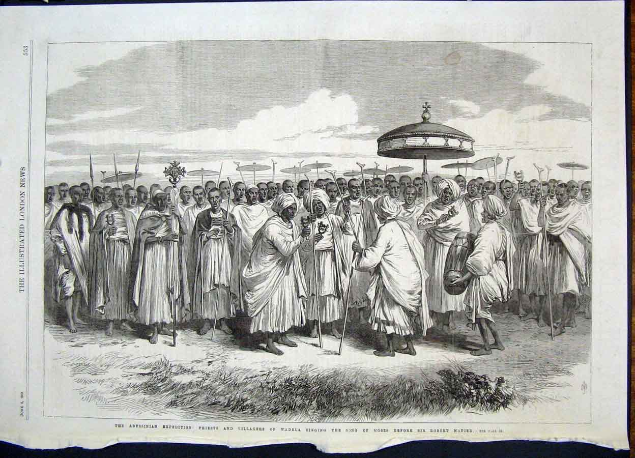 Print Abysinnia Expedition Africa Wadela Napier Priest 1868 53Maa0 Old Original
