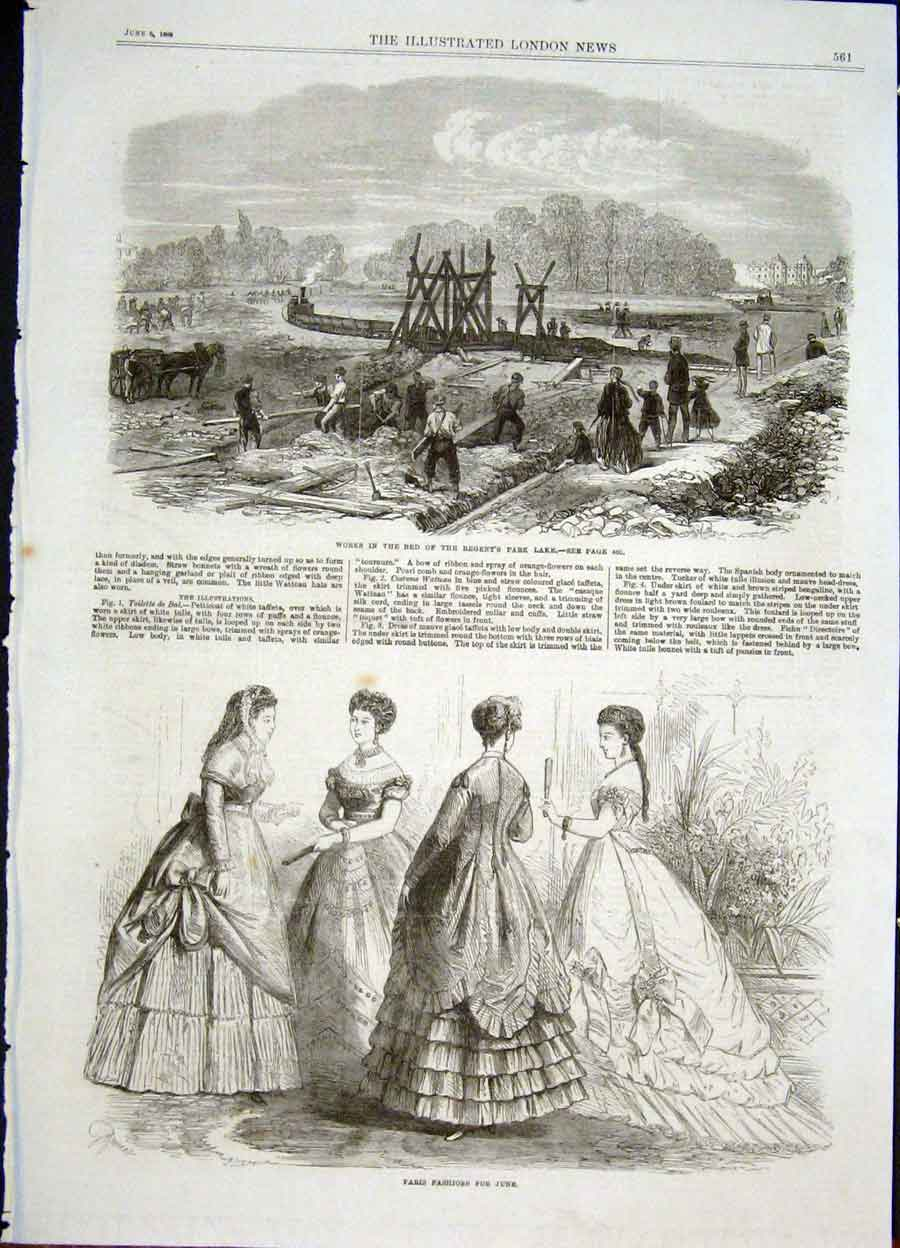 Print Regent'S Park Lake Paris Fashion Ladies 1868 61Maa0 Old Original