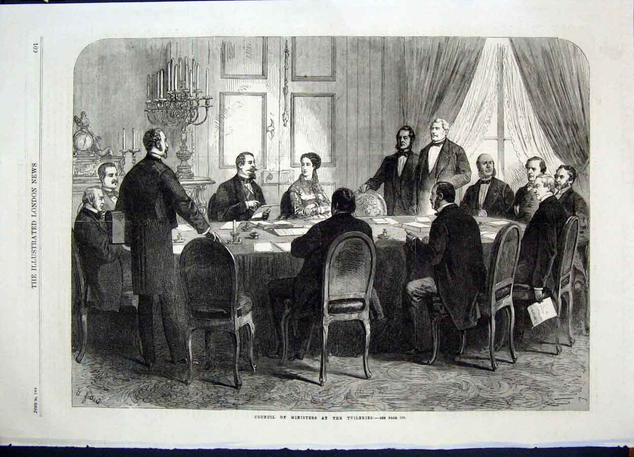 Print Tuileries Paris France Ministers Council 1868 01Maa0 Old Original