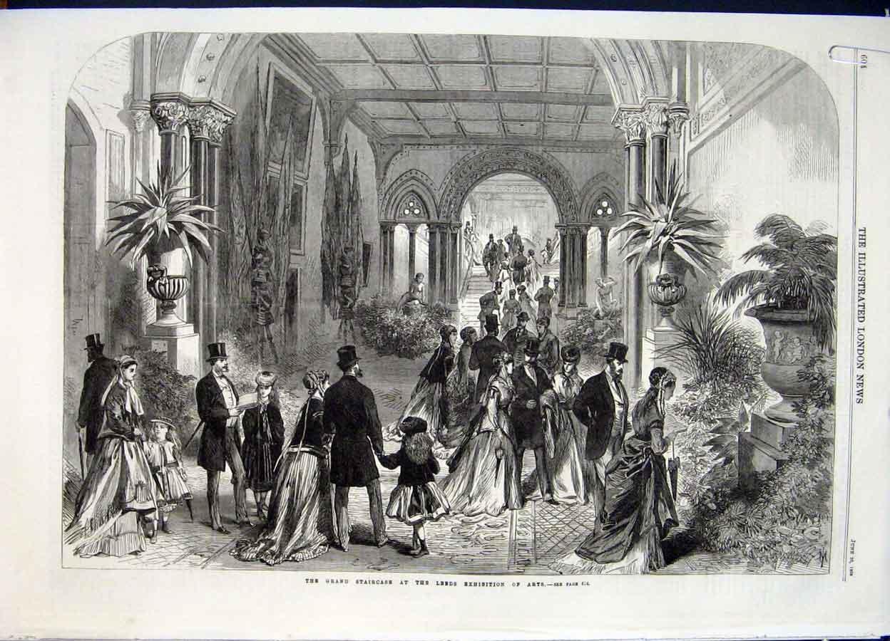 Print Leeds Exhibition Arts Grand Staircase British Painters 04Amaa0 Old Original