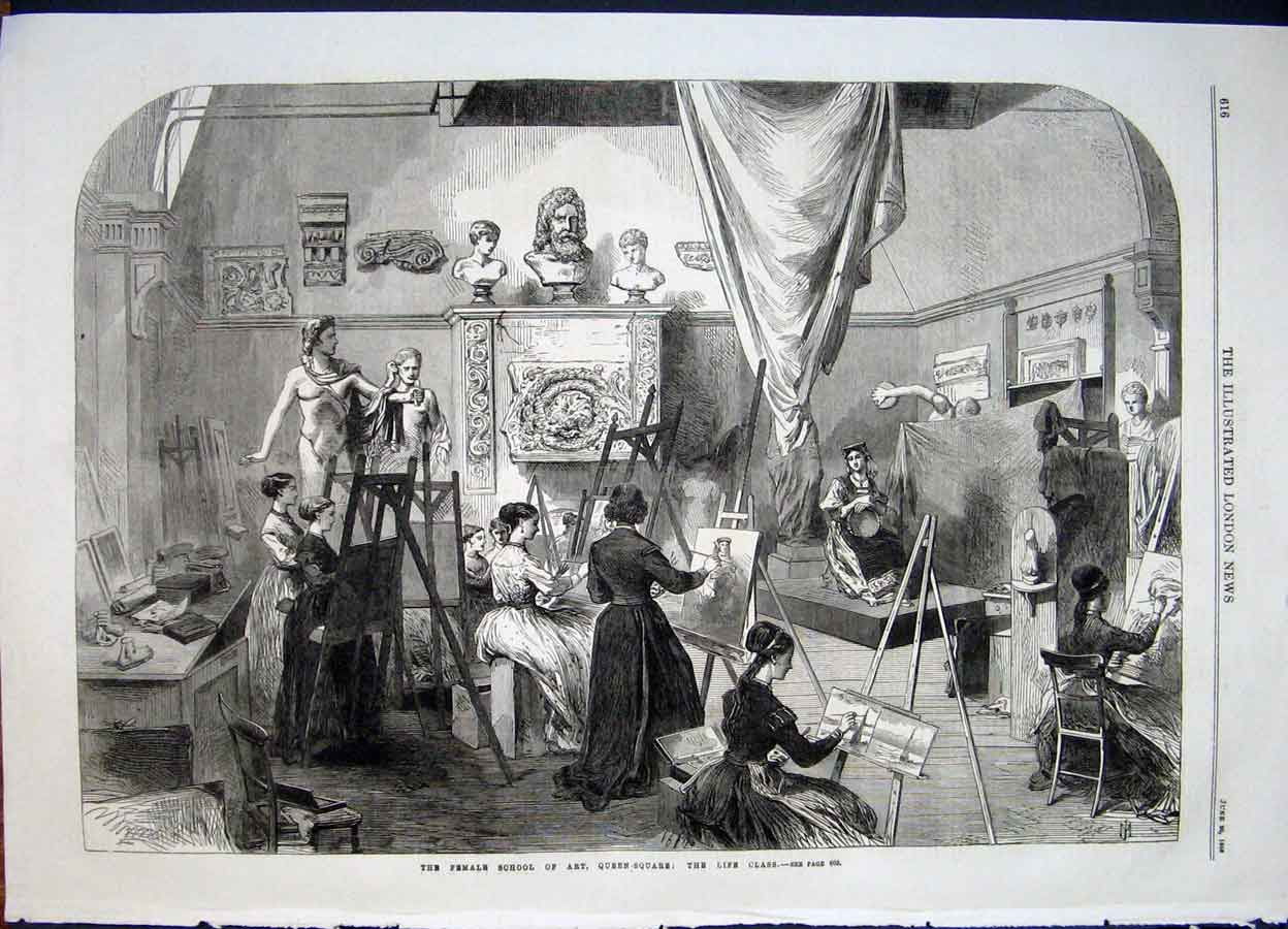 Print School Art Queen Square London Artist Portrait 1868 16Maa0 Old Original