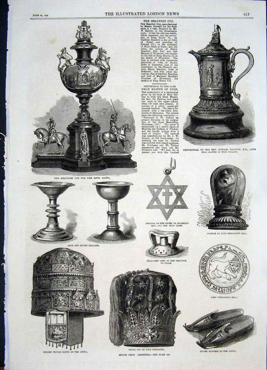 Print Beaufort Cup Races Balston Eton Theodore Abyssinia 1868 17Maa0 Old Original