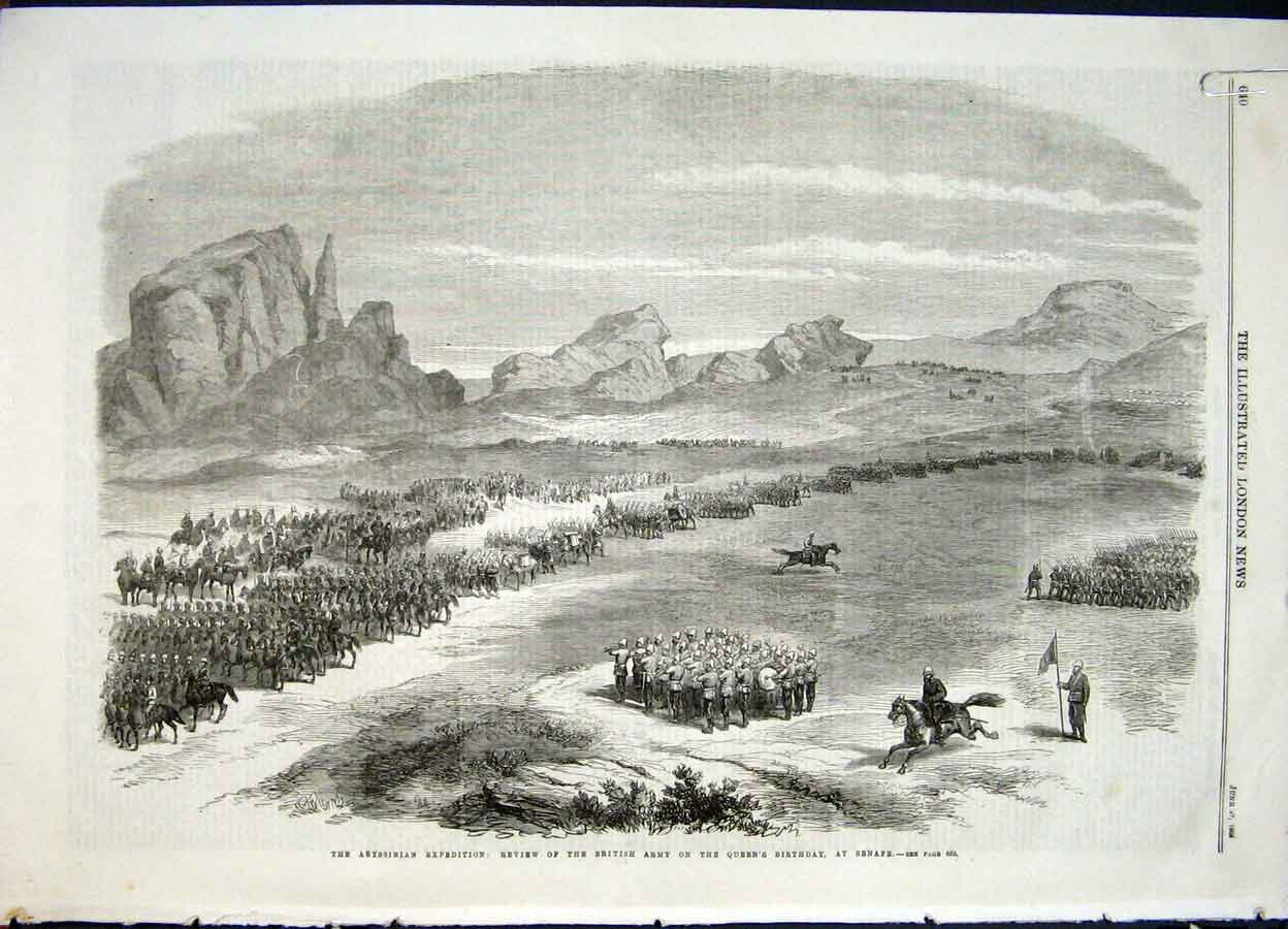 Print Abysinnia Expedition Review British Army Theodore 1868 40Amaa0 Old Original