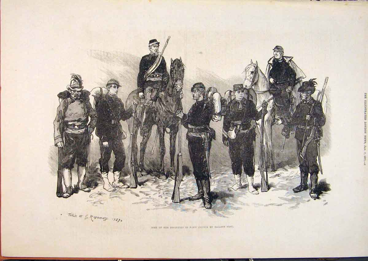 Print Paris Defenders Troops Soldiers Balloon Post 1871 05Maa0 Old Original