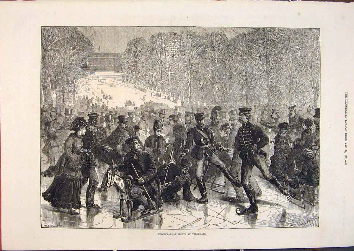 Print Christmas Day Sports Versailles Paris France 1871 29Maa0 Old Original