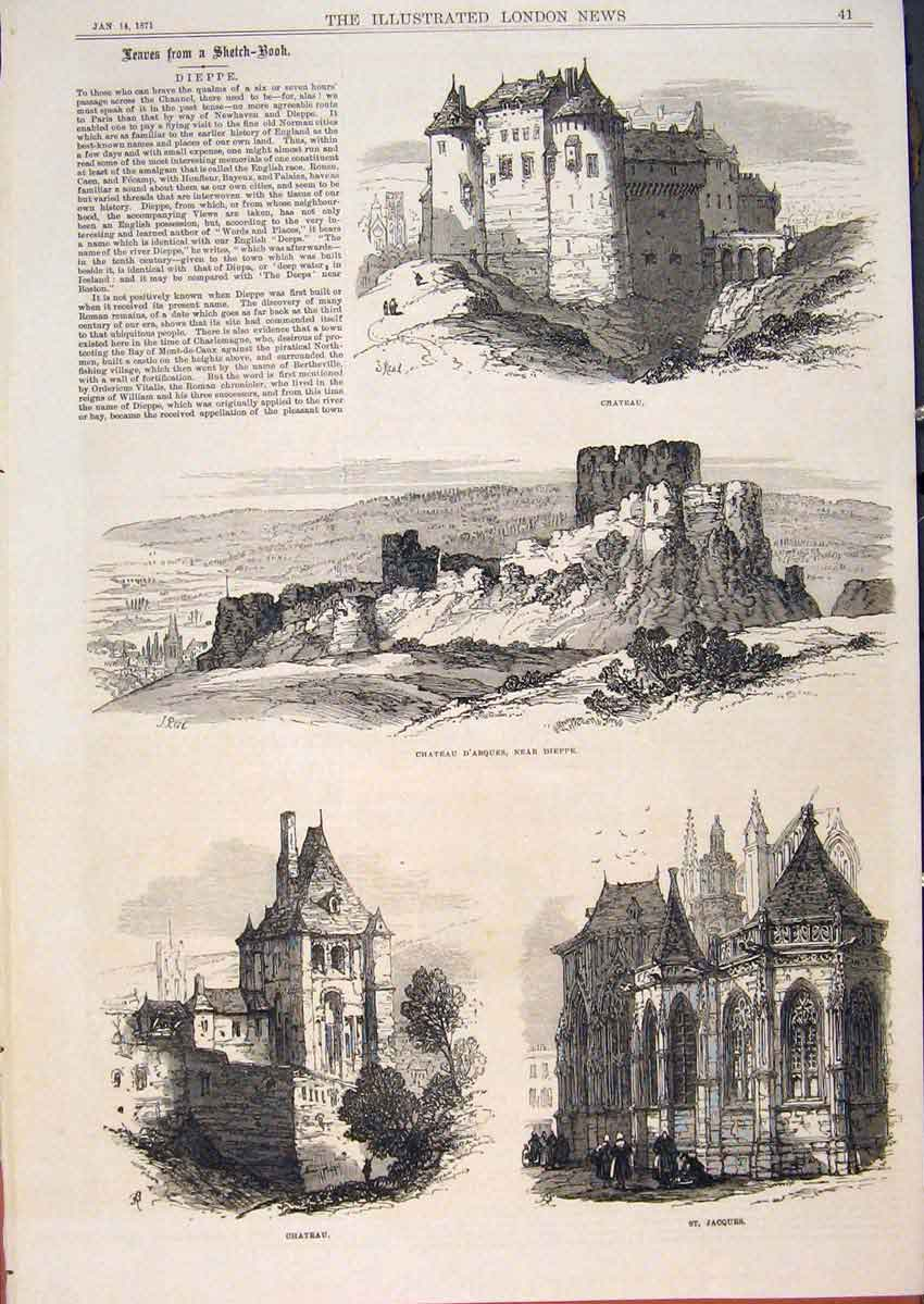 Print Dipee France Sketches Chateau Castle D'Arques 1871 41Maa0 Old Original