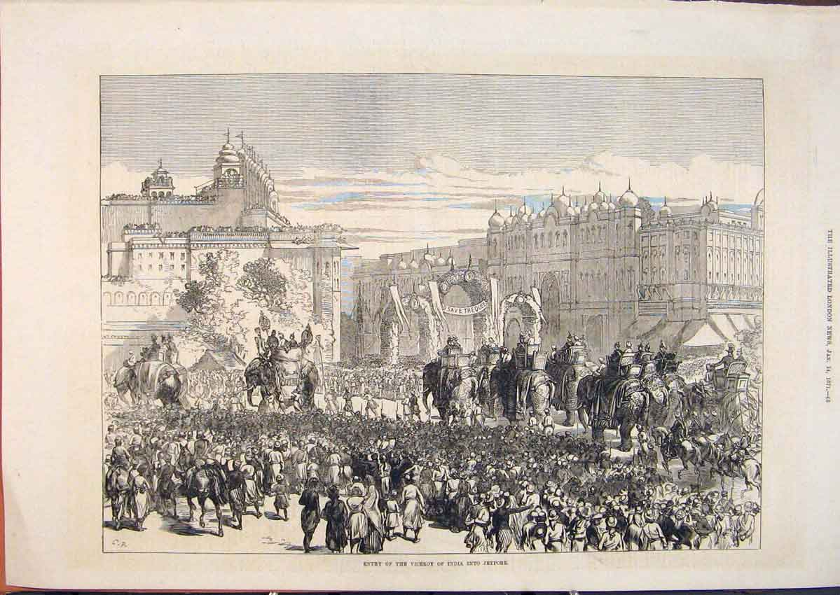 Print Viceroy India Jeypore Indian Elephant Procession 1871 45Maa0 Old Original