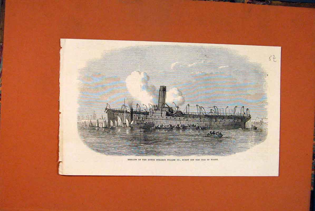Print Willemisle Wight Dutch Steamer Ship Boat Sea 1871 52Lmaa0 Old Original