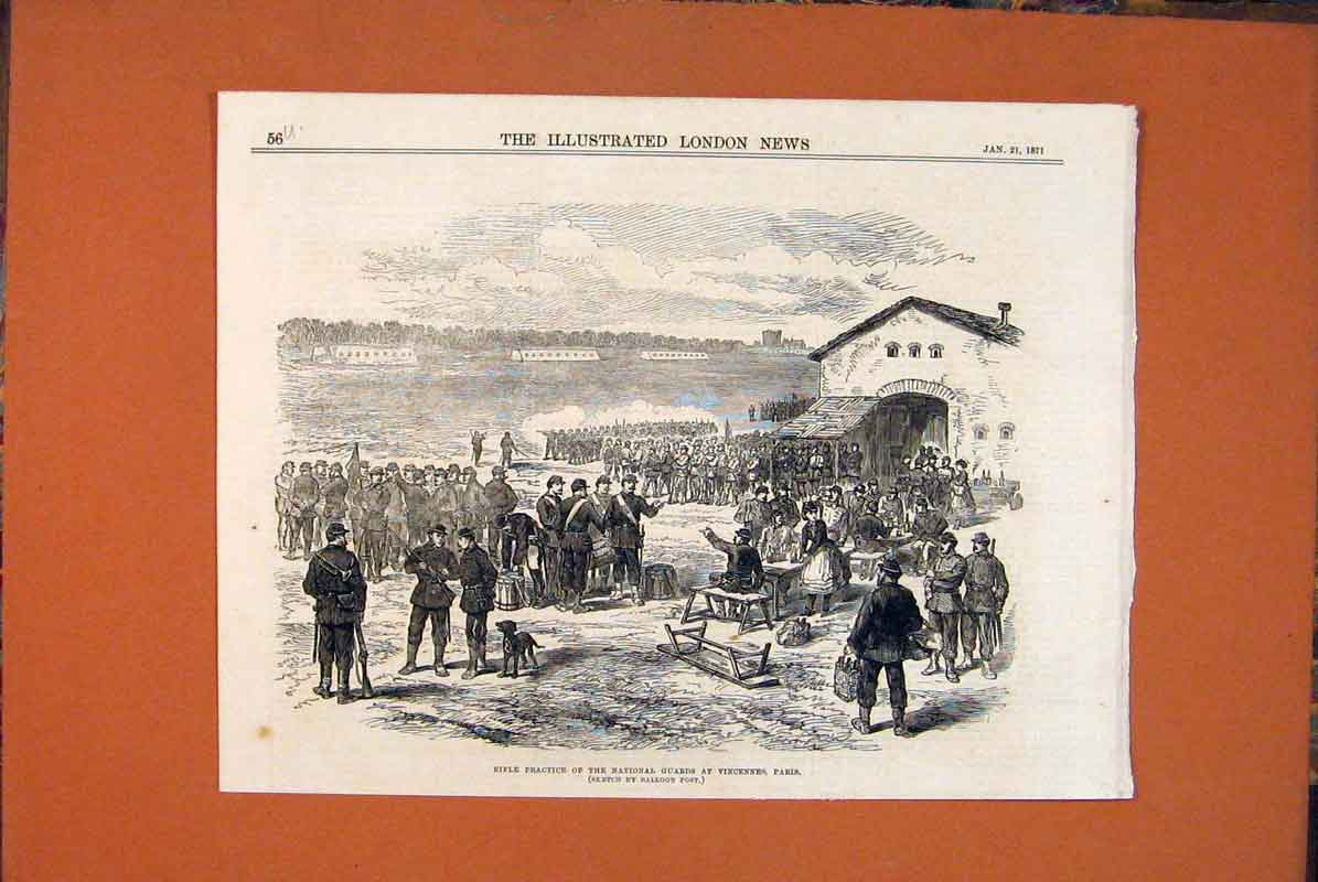 Print Rifle Paris Vincennes National Guards Balloon Post 1871 56Umaa0 Old Original