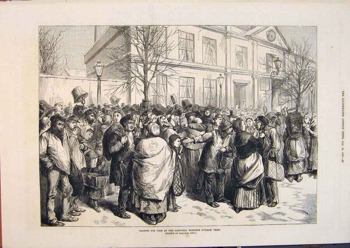 Print Coke Gasworks Barriere D'Italie Paris France 1871 57Maa0 Old Original