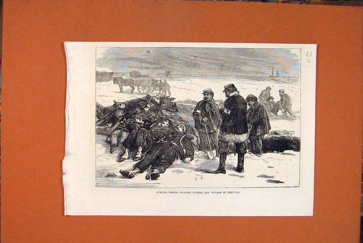 Print French Soldiers Chevilly Village Graves France 1871 61Lmaa0 Old Original