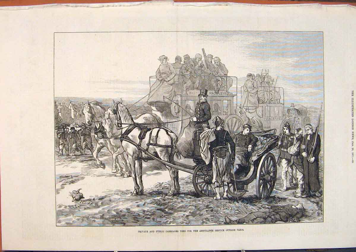 Print Private Public Carriage Ambulance Paris France War 1871 85Maa0 Old Original