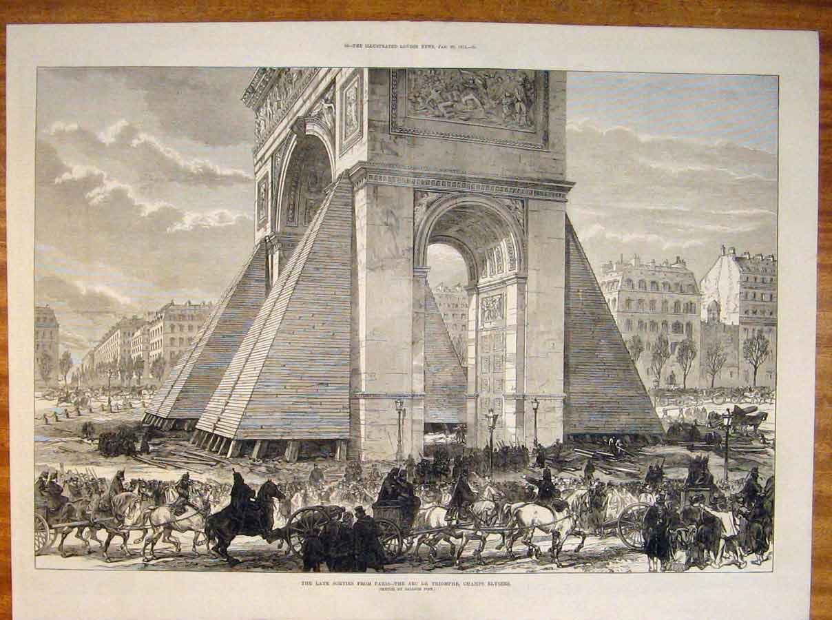 Print Parise France Arc De Triomphe Champs Elysees 1871 87Tmaa0 Old Original