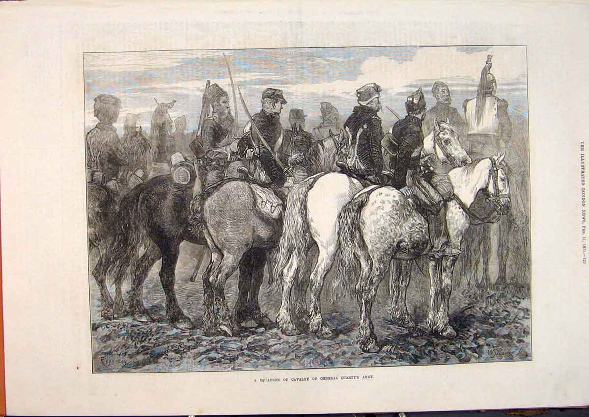 Print Squadron Cavalry General Chanzy Army 1871 29Maa0 Old Original