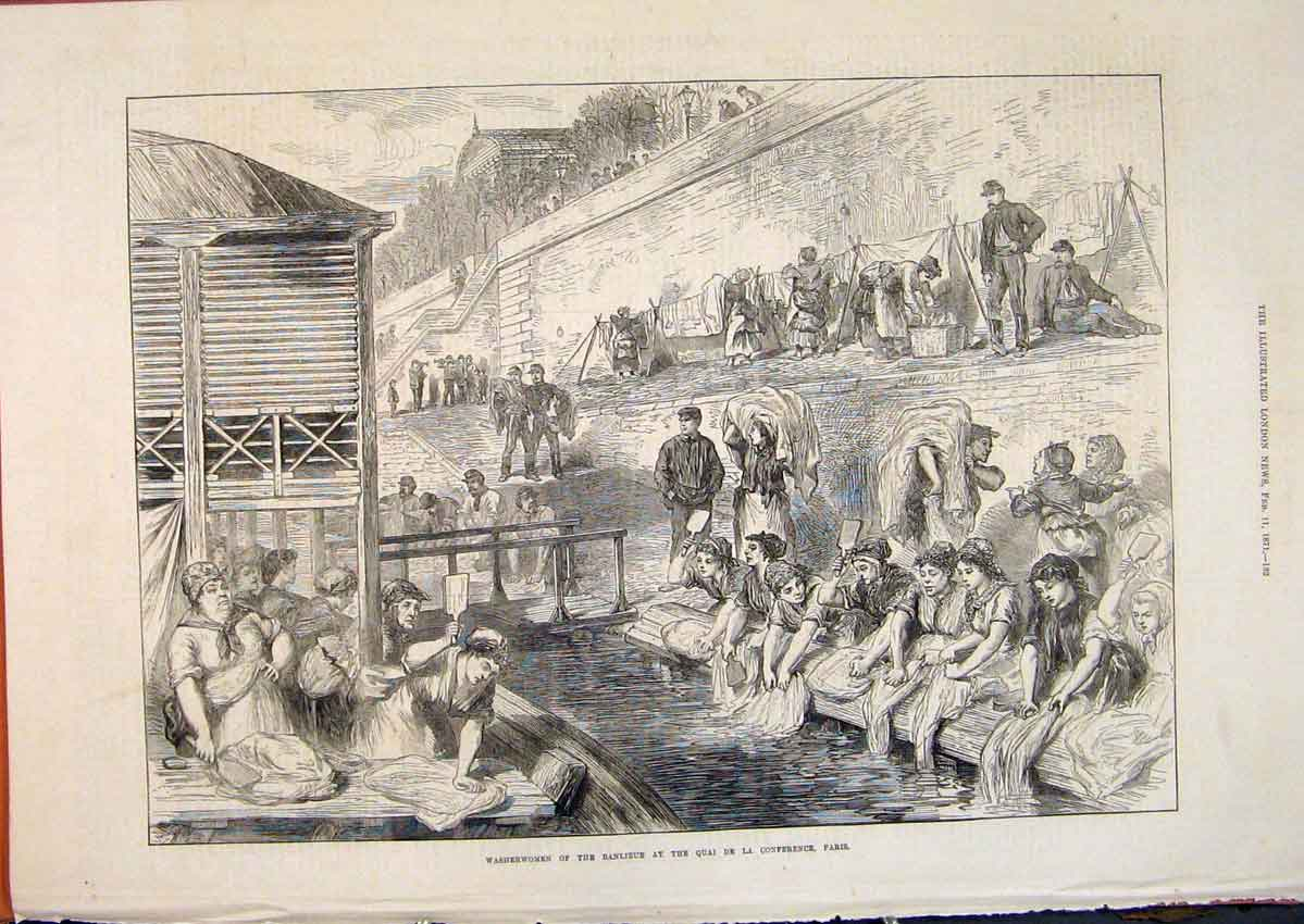Print Washerm#Woman Banlieue Conference Paris France 1871 32Maa0 Old Original