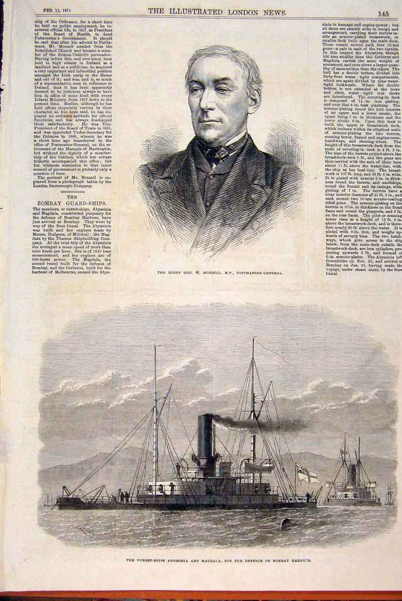 Print Portrait Monsell Postmaster Bombay Harbour India 1871 45Maa0 Old Original
