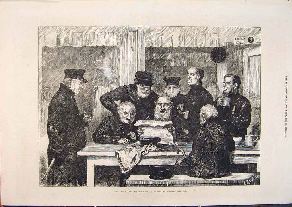 Print Wars Warriors Sketch Chelsea Hospital 1871 65Maa0 Old Original