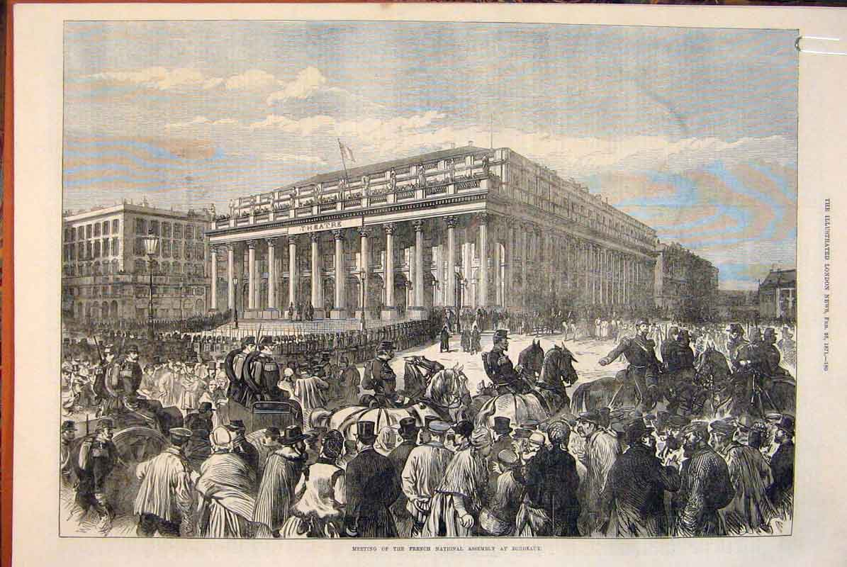 Print French National Assembly Bordeaux France Peace 1871 80Amaa0 Old Original