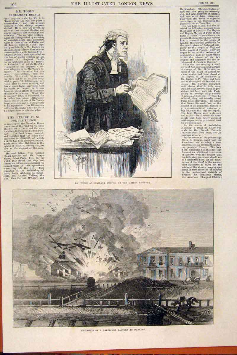 Print Toole Theatre Explosion Dunkirk Factory Cartridge 1871 92Maa0 Old Original