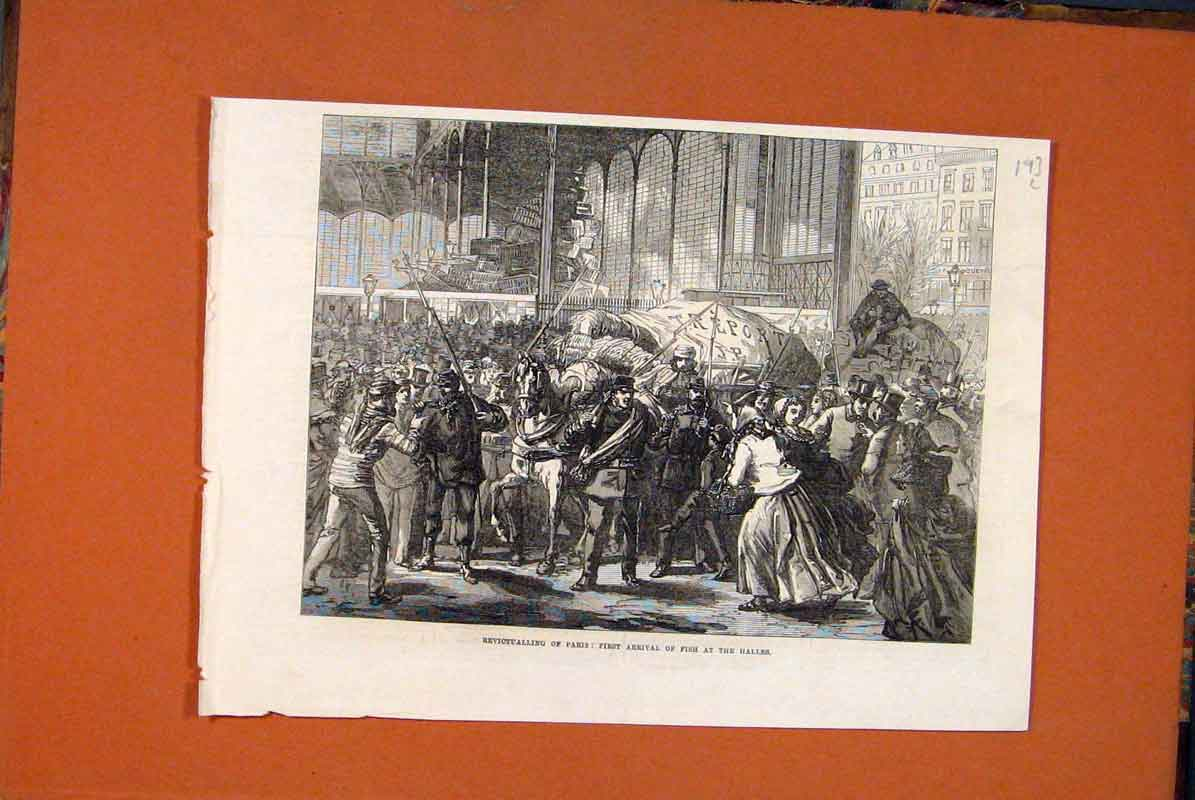 Print Paris France Halles Fish 1871 93Lmaa0 Old Original