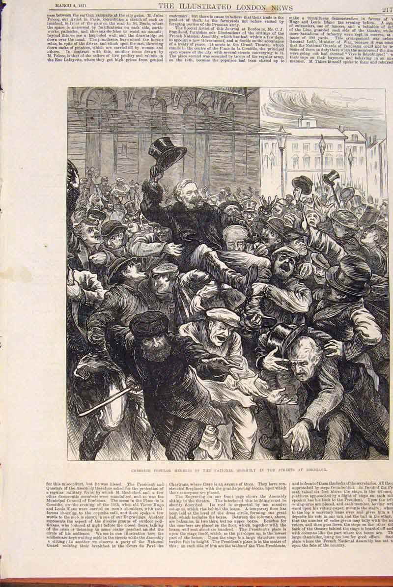Print Bordeaux France National Assembly 1871 17Maa0 Old Original