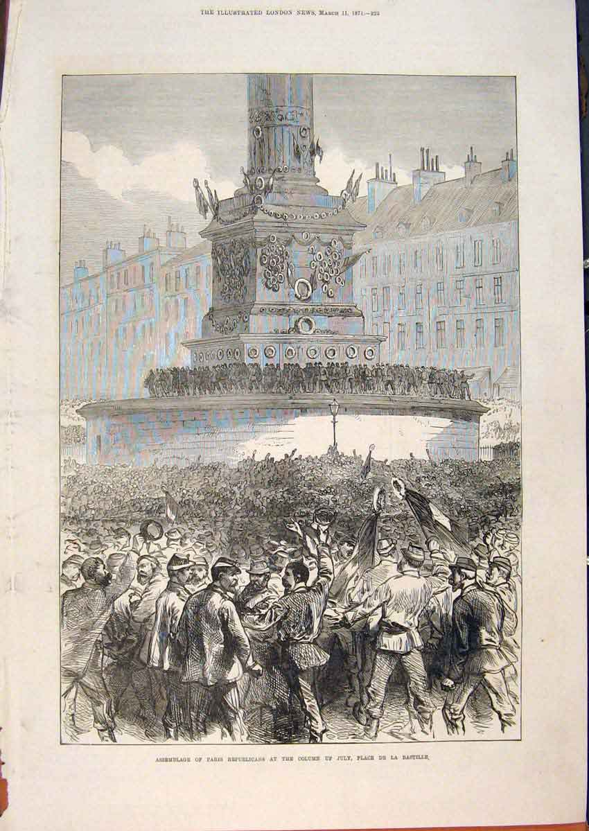 Print Paris Republican Column July Place Bastille France 1871 25Maa0 Old Original